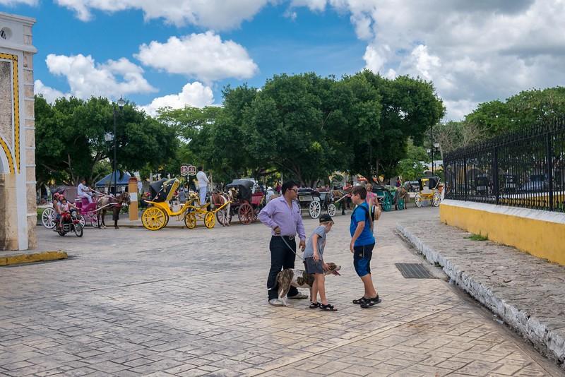 The charming town of Izamal, Mexico in the Yucatan Peninsula.