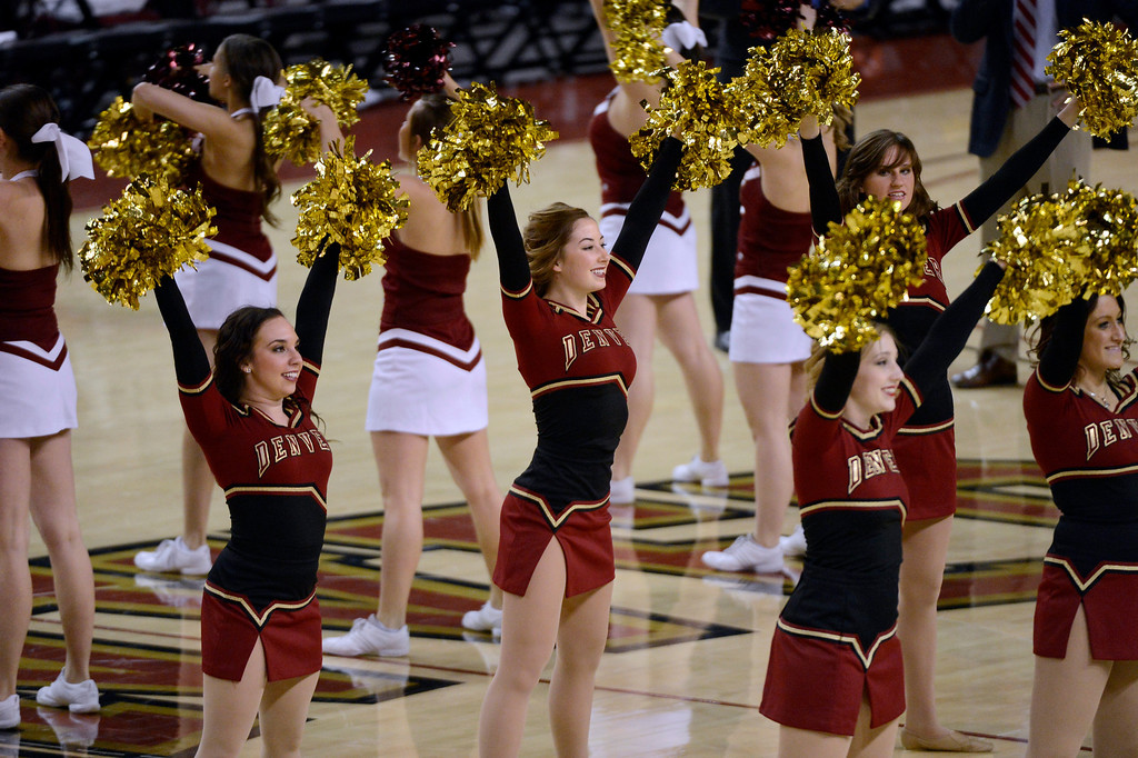 . DENVER, CO. - FEBRUARY 07: Denver Pioneers dance team performs during the second half February 7, 2013 at Magness Arena.The Denver Pioneers defeated the Seattle Redhawks 72-55. (Photo By John Leyba/The Denver Post)