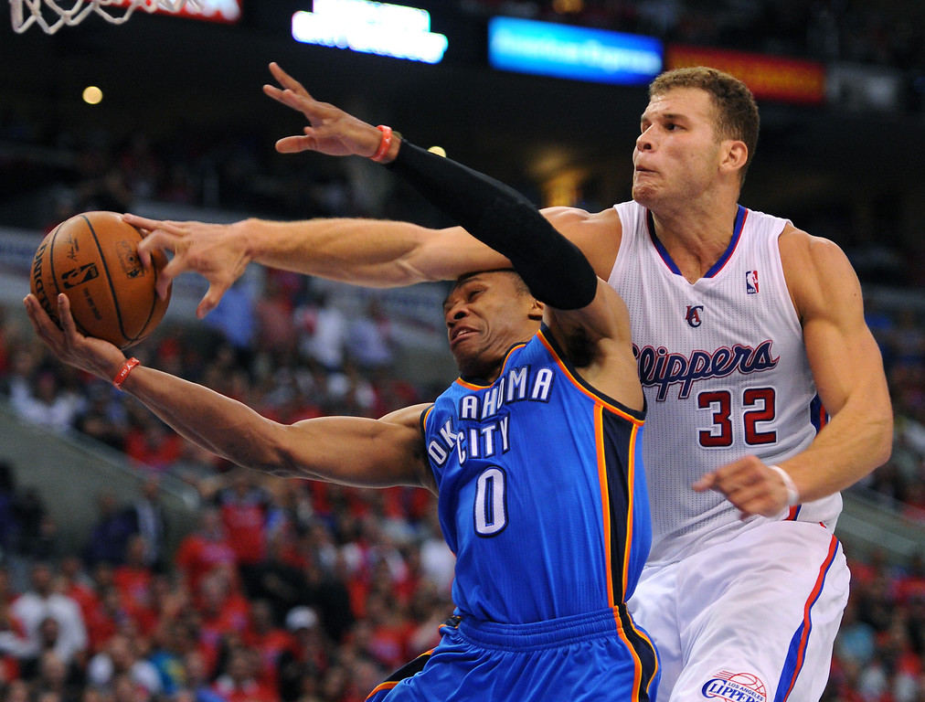 . The Clippers\' Blake Griffin fouls out of the game after fouling the Thunder\'s Russell Westbrook, Thursday, May 15, 2014, at Staples Center. (Photo by Michael Owen Baker/Los Angeles Daily News)