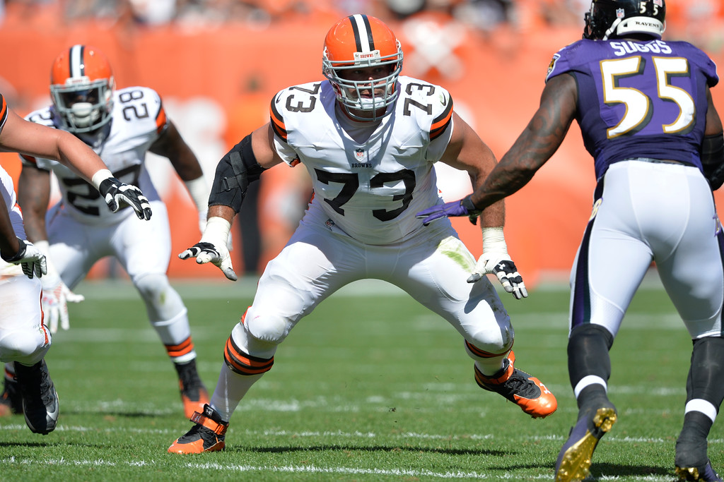 . Cleveland Browns tackle Joe Thomas (73) blocks during an NFL football game against the Baltimore Ravens Sunday, Sept. 21, 2014, in Cleveland. Baltimore won 23-21. (AP Photo/David Richard)