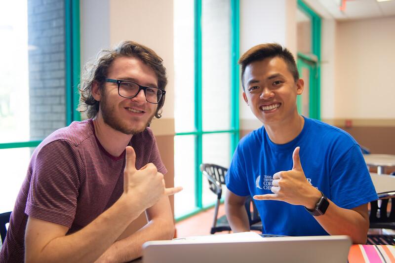 Christoper Ashworth (left) and Trung Le at Instruction Center.