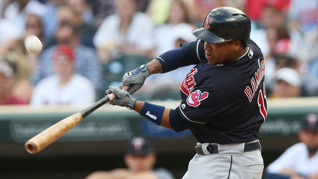 . Cleveland Indians\' Jose Ramirez bats against the Minnesota Twins in the first inning of a baseball game Thursday, May 31, 2018, in Minneapolis. (AP Photo/Jim Mone)