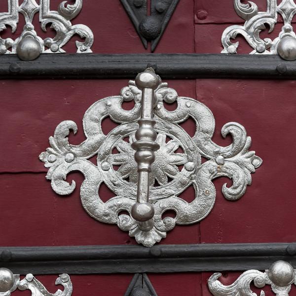Close-up of pattern on door, Prague, Czech Republic