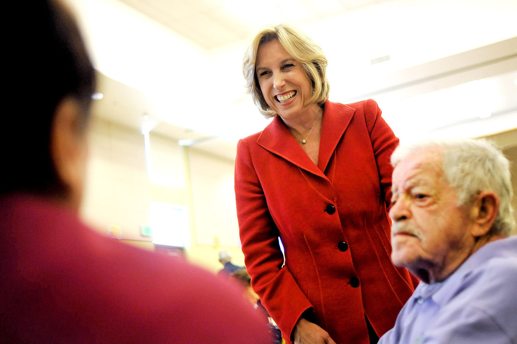 . Mayoral candidate Wendy Greuel makes a stop at the Sherman Oaks/East Valley Adult Center Monday, May 20, 2013.(Andy Holzman/Staff Photographer)
