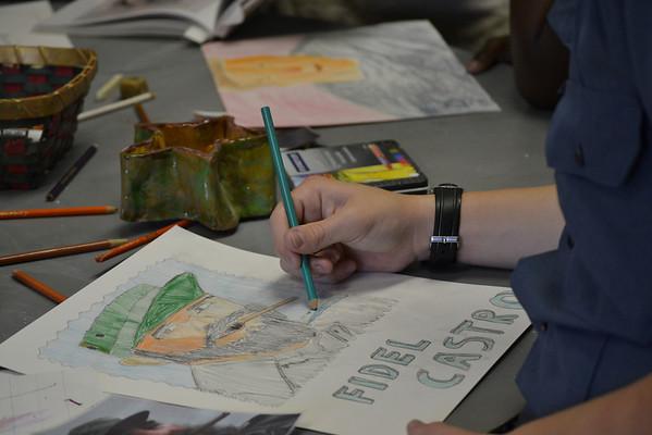 Spanish 1 students create genius portraits
