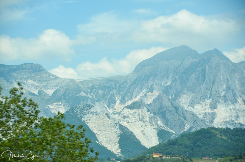 No, this isn't snow.  Rather it's the famous Carrara marble quarries
