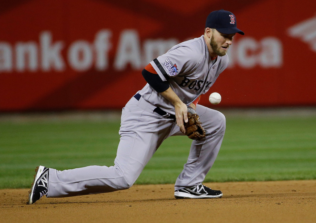 . Boston Red Sox shortstop Stephen Drew fields a hit by St. Louis Cardinals first baseman Allen Craig and turns it into a double play to end the second inning of Game 5 of baseball\'s World Series Monday, Oct. 28, 2013, in St. Louis. (AP Photo/Matt Slocum)