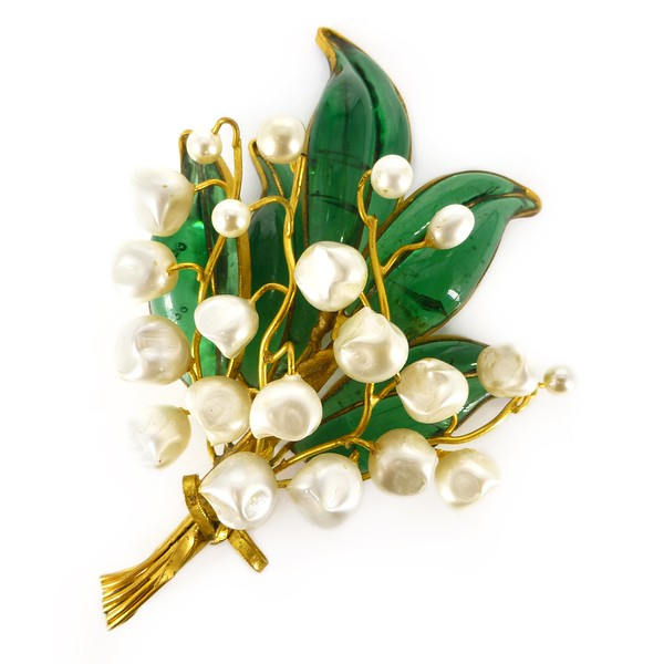 Vintage Mid Century French Lily Of The Valley Gripoix Faux Pearl Brooch