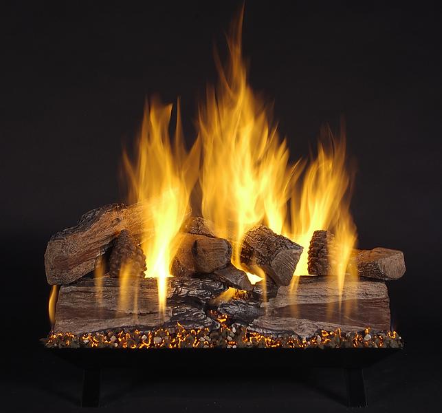 "24"" Evening CrossFire Logs (EXF24) on Vented Custom Pan Burner (CS24-B-N). Shown on Natural Gas."