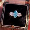 1.73ctw Blue Marquise Cut Diamond Trilogy Ring 14