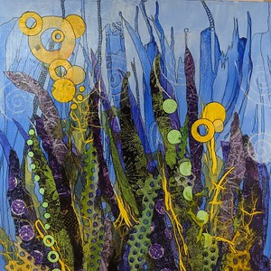 """Underwater Interlude"" (mixed media collage) by Jan Garvin"