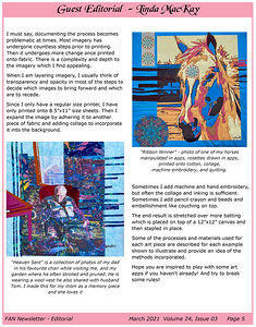 Mixing Your Media, March 2021 Fibre Art Network (FAN) Newsletter