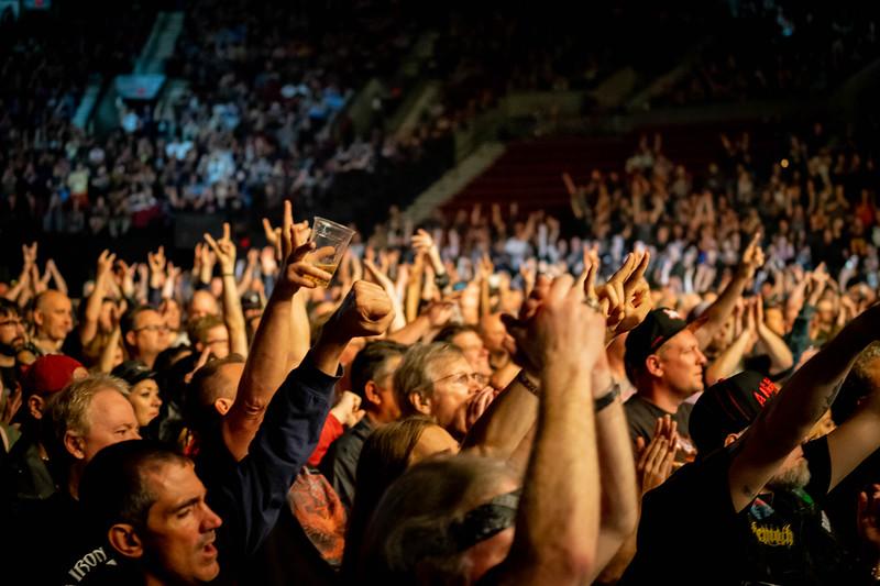 Fans show appreciation for Judas Priest toward the concert's end.
