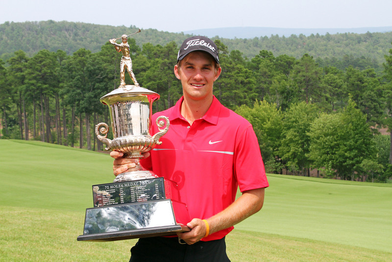 Medalist Patrick Rodgers of Avon, IN poses with the Cameron Eddy medalist trophy following the trophy ceremony during the 2013 Western Amateur at The Alotian Club in Roland, AR. (WGA Photo/Ian Yelton)