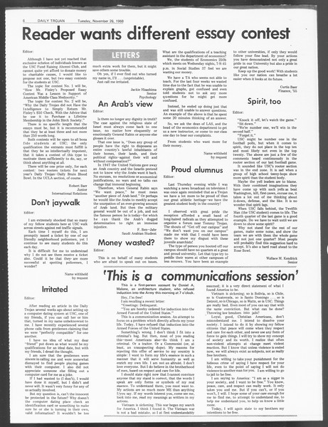 Daily Trojan, Vol. 60, No. 47, November 26, 1968
