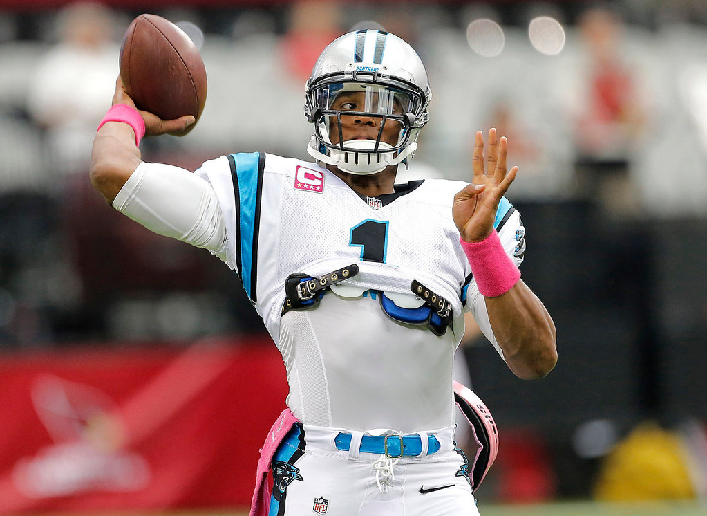 . Carolina Panthers quarterback Cam Newton (1) warms up prior to a NFL football game against the Arizona Cardinals, Sunday, Oct. 6, 2013, in Glendale, Ariz. (AP Photo/Matt York)