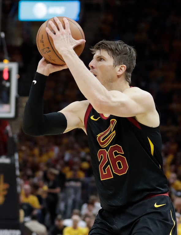 . Cleveland Cavaliers\' Kyle Korver goes up for a shot against the Toronto Raptors in the first half of Game 4 of an NBA basketball second-round playoff series, Monday, May 7, 2018, in Cleveland. (AP Photo/Tony Dejak)
