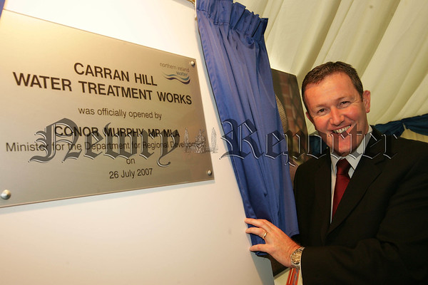 Conor Murphy MP MLA Minister for Regional Development officially opens the new Water Treatment Works at Carran Hill Crossmaglen.  07W31N7