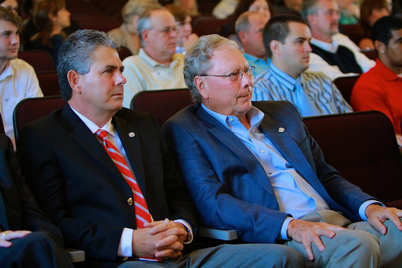 YMCA Lecture series in the Blanton Auditorium on the campus of Gardner-Webb University; Featuring Krispy Kreme CEO James Morgan, keynote, in addition to panel members Kevin Trapani, CEO of The Redwoods Group, and Paul Byrne, President of Precor Incorporated.