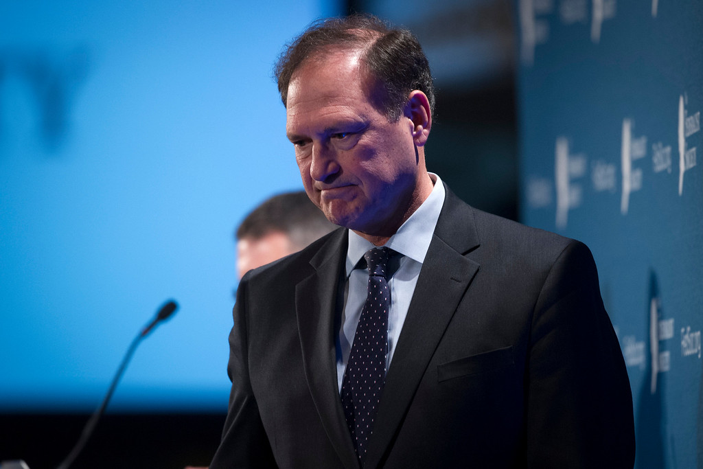 . Supreme Court Associate Justice Samuel Alito leaves the stage after speaking at the Federalist Society\'s National Lawyers Convention in Washington, Thursday, Nov. 17, 2016. (AP Photo/Cliff Owen)