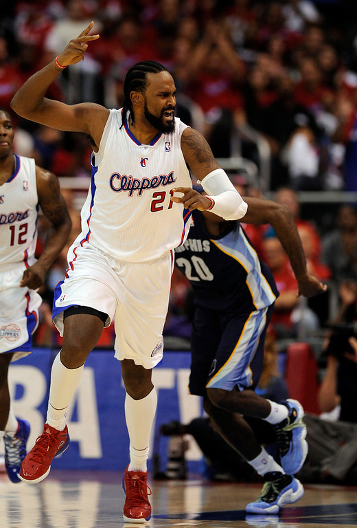 . The Clippers\' Ronny Turiaf #21 reacts after scoring a basket  during their first round Western Conference Playoff game against the Grizzlies at the Staples Center in Los Angeles Saturday, April 20, 2013. The Clippers beat the Grizzlies 112-91. (Hans Gutknecht/Staff Photographer)