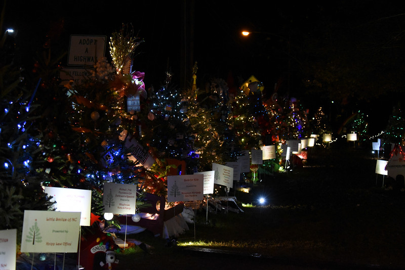 The trees on the left side of the Rotary Club of Davidson's Giving Village. This wonderful fundraiser for local nonprofit organizations in a favorite attraction for young and old visitors alike.