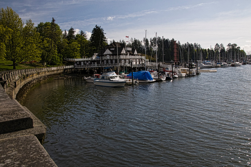 While biking in Stanley Park we had many photo opportunities.  This is Royal Vancouver Yacht Club on the bike path ahead.