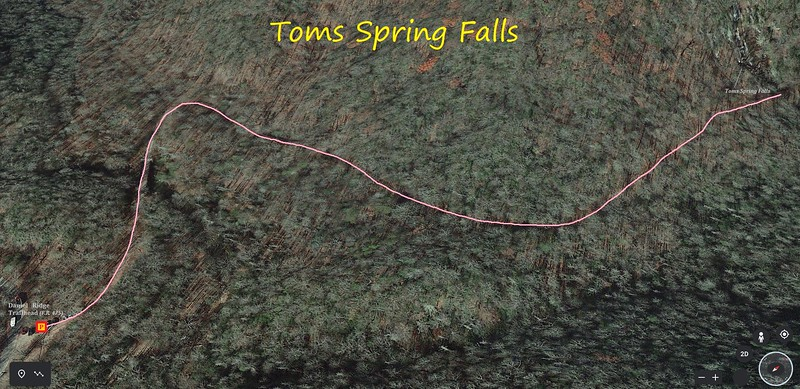 Toms Spring Falls Hike Route Map