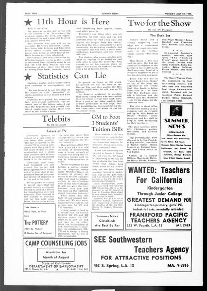 Summer News, Vol. 11, No. 11, July 30, 1956