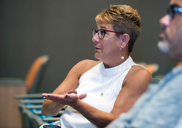 09/24/19 Wesley Bunnell | StaffrrCSDNB Superintendent of Schools Nancy Sarra voices her concerns during an education forum held at Smalley Elementary on Tuesday night discussing how recent law changes are impacting students.