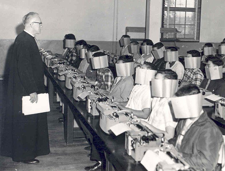 Br. Anthony's Typing Class (blind faith) 1957.jpg