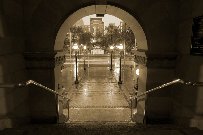 Through the arch at City Hall (monochromed)