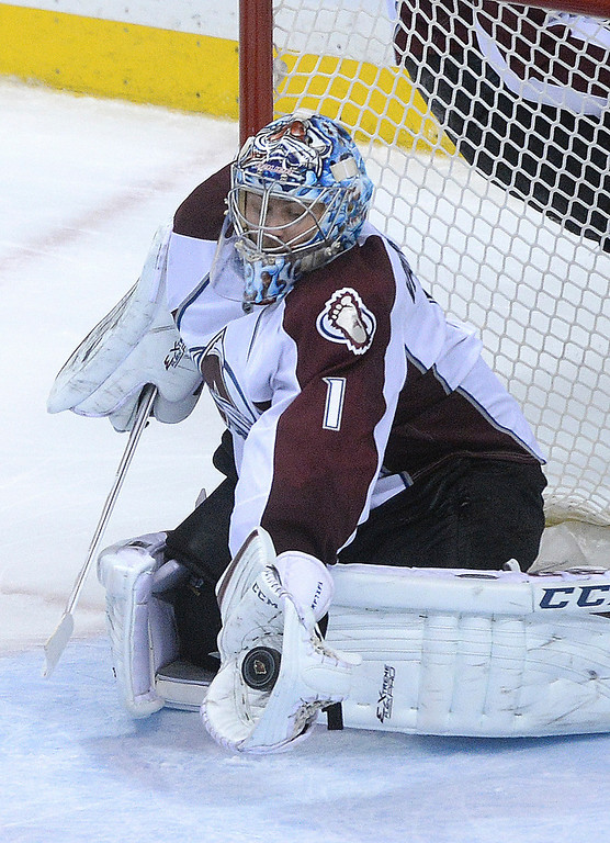 . Colorado goalie Semyon Varlamov made a save in the second period.  (Photo by Karl Gehring/The Denver Post)