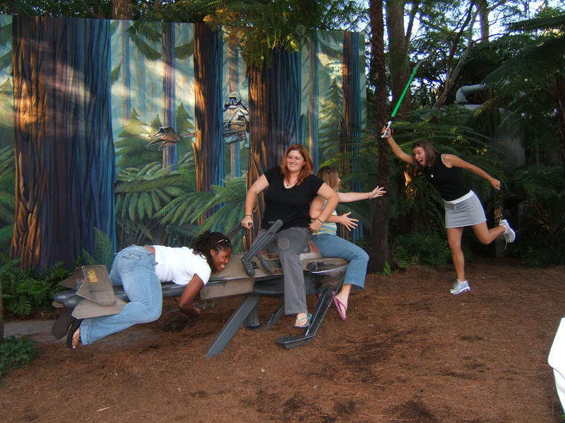 me, mickie, linsdey, nicole on the speeder at studios.JPG