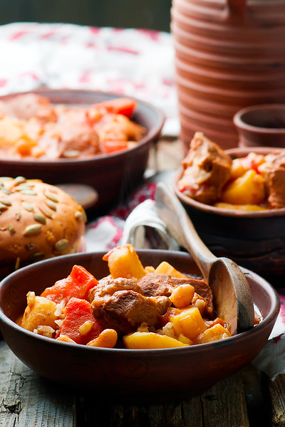 Hungarian Cholent Slow Cooker Beef-Stew.rustic style.selective focus