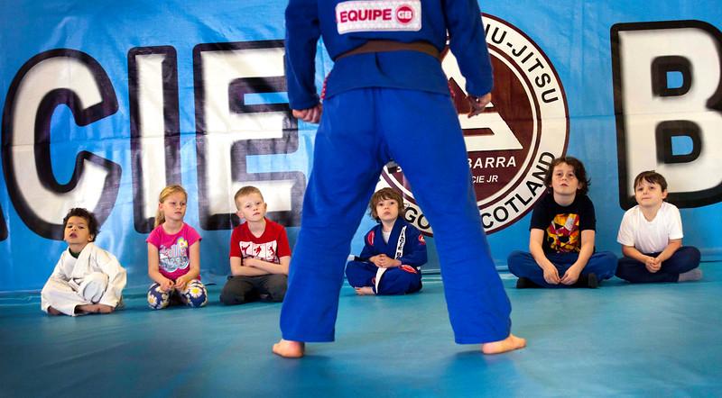 Kids take part in self defense classes at Gracie Barra gym ,Glasgow.