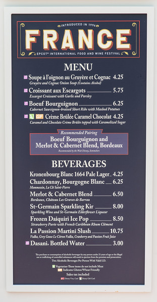 France Menu - Epcot Food & Wine Festival 2016