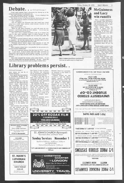 Daily Trojan, Vol. 62, No. 28, October 30, 1970