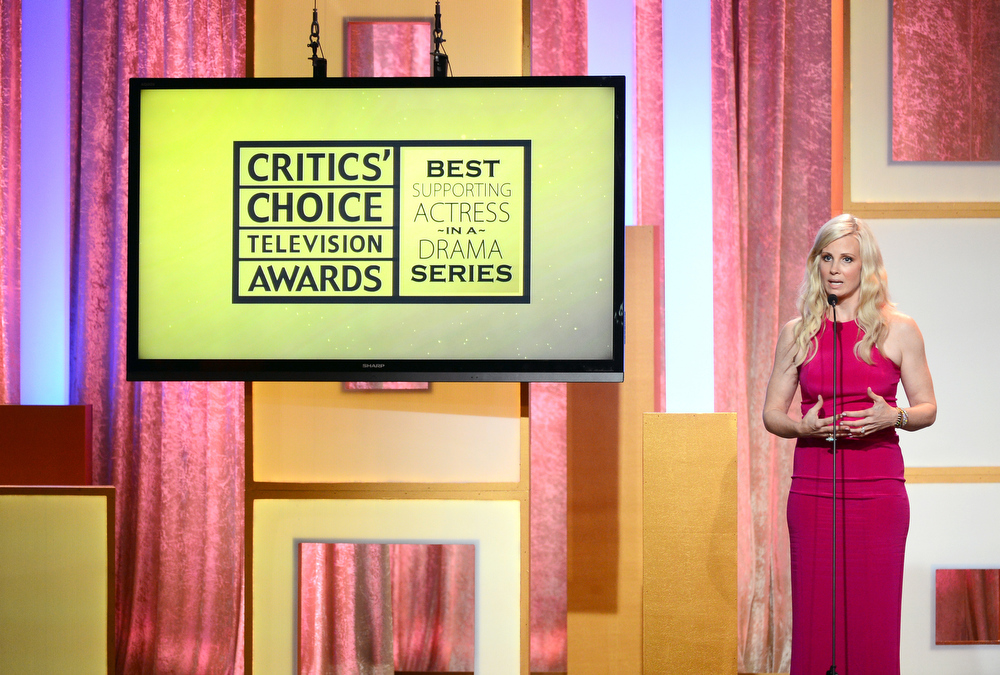 ". Actress Monica Potter  accepts the Best Supporting Actress In a Drama Series award for ""Parenthood\"" onstage during Broadcast Television Journalists Association\'s third annual Critics\' Choice Television Awards at The Beverly Hilton Hotel on June 10, 2013 in Los Angeles, California.  (Photo by Mark Davis/Getty Images for CCTA)"