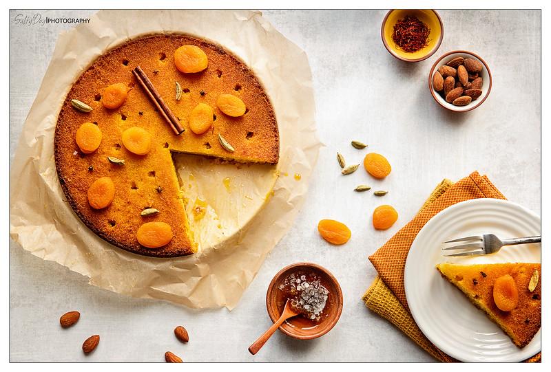 Almond Flour Spice Cake with Saffron & Honey