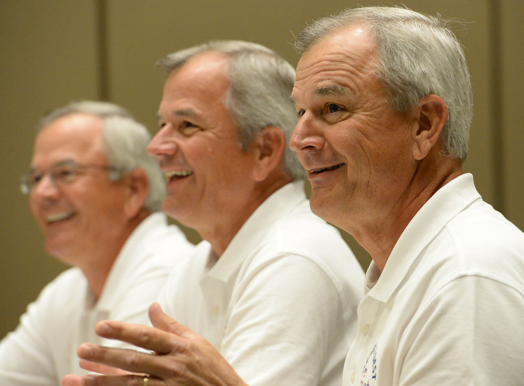 . Triplets from around the globe converged at the Crowne Plaza Hotel for the National Triplet Convention Saturday, July 12, 2014, Redondo Beach, CA.  Triplet, all living in Oregon, from left: Joe, Jim and Gerry Kosanovic, 65, speak at the meeting. Photo by Steve McCrank/Daily Breeze