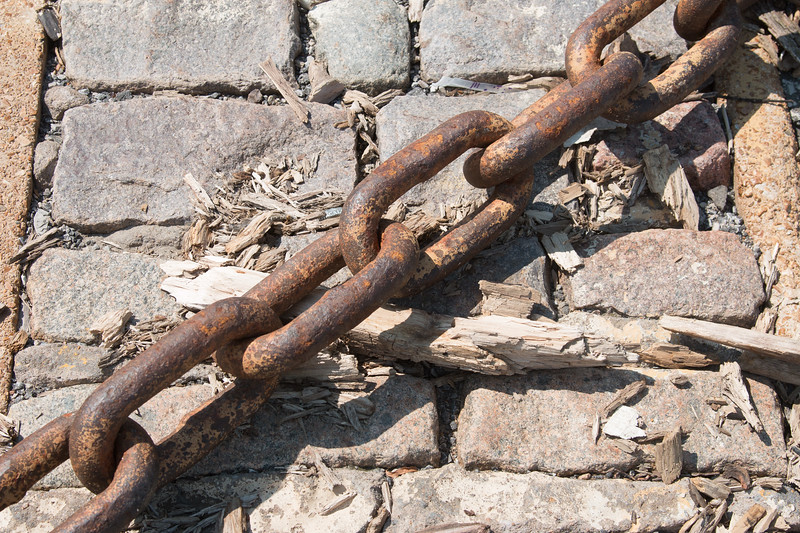 Chain and cobblestones on St. Louis Levee.