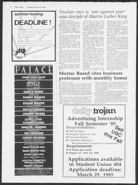 Daily Trojan, Vol. 98, No. 53, March 28, 1985