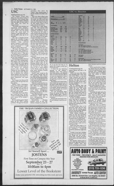 Daily Trojan, Vol. 129, No. 17, September 23, 1996