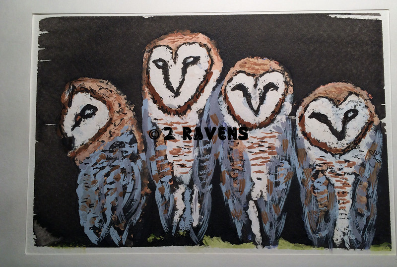 Barn Owls #1, gouache and ink resist  SOLD