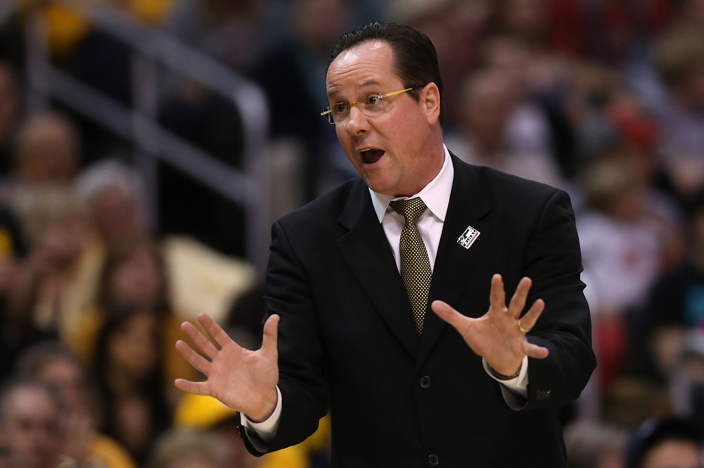. LOS ANGELES, CA - MARCH 30:  Head coach Gregg Marshall of the Wichita State Shockers calls out in the first half while taking on the Ohio State Buckeyes during the West Regional Final of the 2013 NCAA Men\'s Basketball Tournament at Staples Center on March 30, 2013 in Los Angeles, California.  (Photo by Jeff Gross/Getty Images)