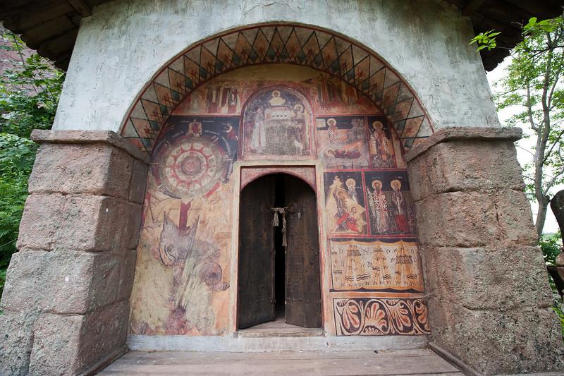Colorful paintings on doorway at Belogradchik, Bulgaria