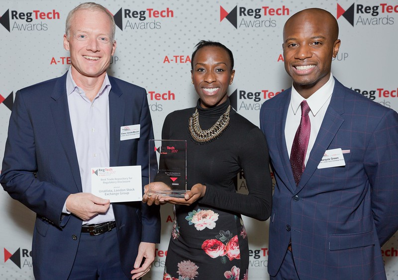 RegTech Award winners for Best Trade Repository For Regulatory Disclosure, Eisso VanderMeulen, Maryse Gordon and Marquis Green, London Stock Exchange Group