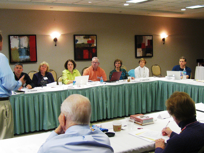 2011 03-19 Fuller Center Louisville hosted a Derby City Build (5 houses in Shawnee neighborhood) prior to board and advisors  meeting in conjunction with the annual Covenant Partner Conference. Advisor Hub Erickson (foreground); L-R: Board members Jackie Goodman, Dianne Fuller, Jeff Cardwell, Linda Fuller and Advisor Maggie Chrisman. bb