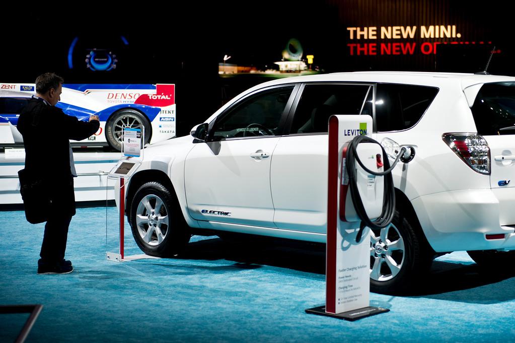 . Toyota all-electric RAV4 EV at Los Angeles Auto Show on Wednesday, Nov. 20, 2013, in Los Angeles. (Photo by Watchara Phomicinda/San Gabriel Valley Tribune)